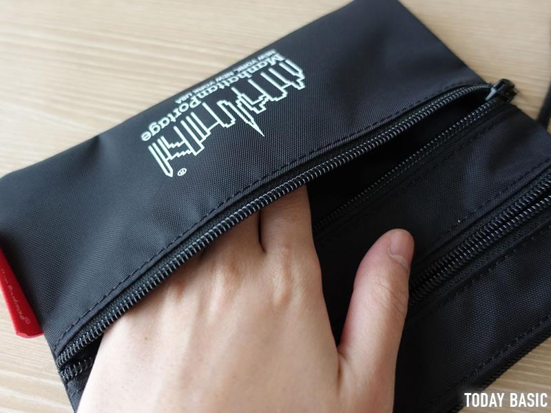 マンハッタンポーテージのサコッシュ・トリプルジッパーポーチの浅いポケット