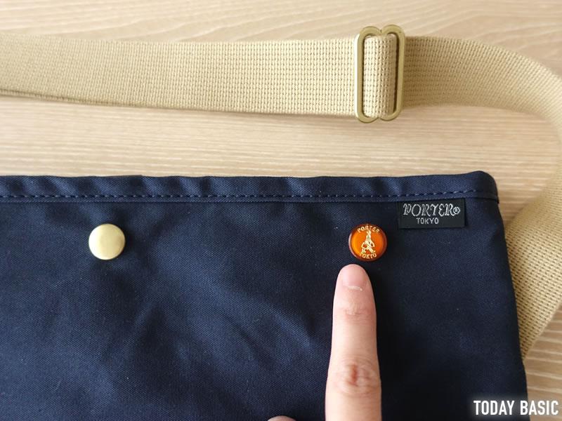 ポーターのサコッシュ・コッピのおしゃれなボタン画像
