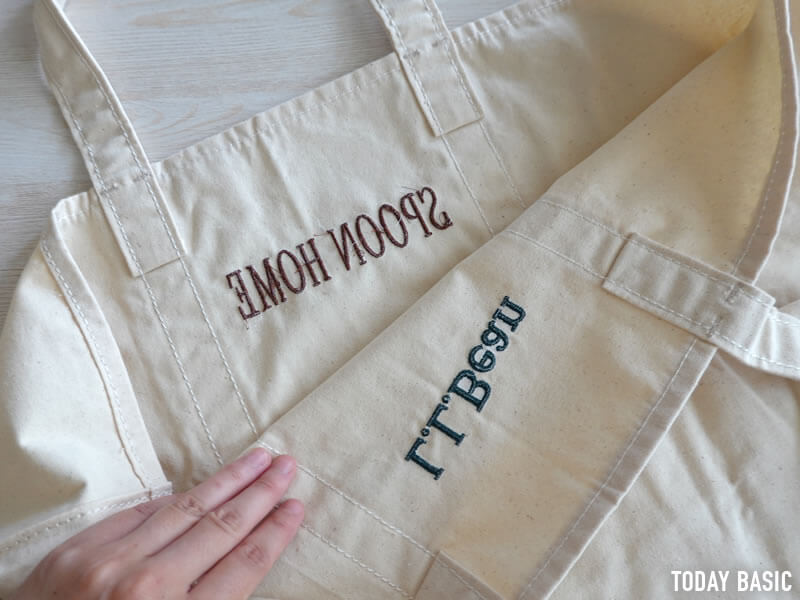 グローサリートートバッグのモノグラム・ロゴ刺繍の画像