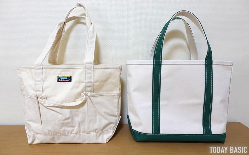 LLビーンのカタディン・キャンピング・トートバッグとボート・アンド・トート・バッグを並べた画像