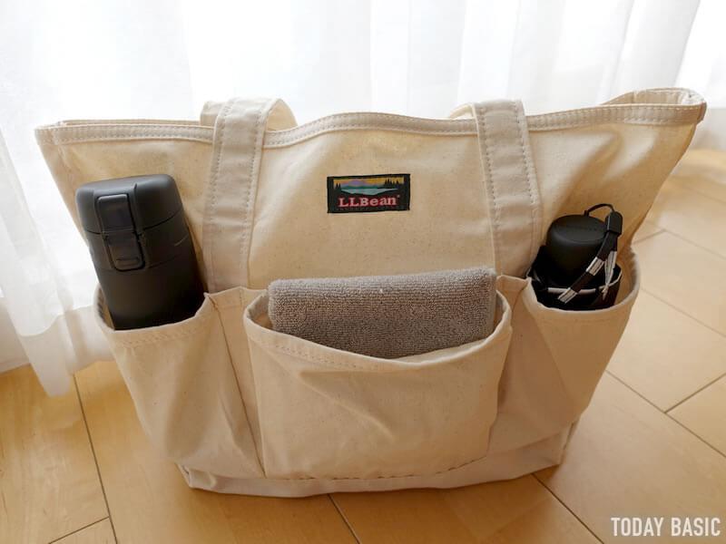 LLビーンのカタディン・キャンピング・トートバッグに水筒と折りたたみ傘を収納