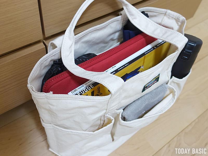 LLビーンのカタディン・キャンピング・トートバッグの収納実例ブログ画像