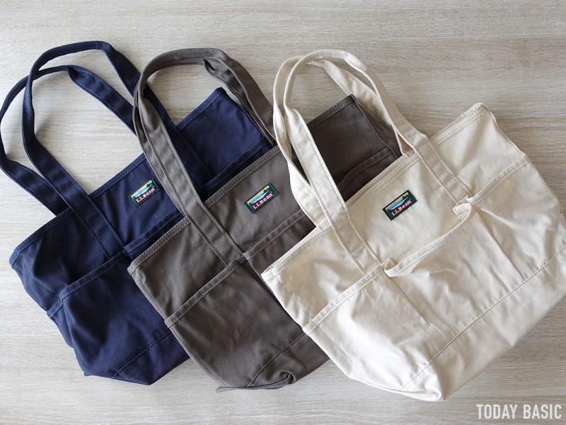 LLビーンのカタディン・キャンピング・トートバッグの3カラーを並べた画像