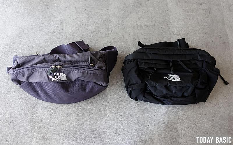 ザノースフェイスのウエストバッグ・スピナとスウィープ写真