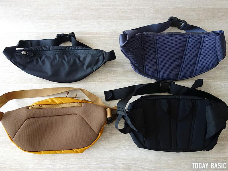 ザノースフェイスのウエストバッグの背面比較画像