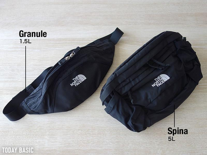 ザノースフェイスのウエストポーチ・バッグの容量・サイズ比較