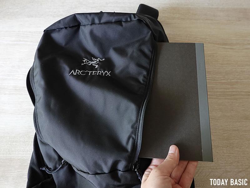 アークテリクスのマンティス26Lの左右ポケットにA5サイズノートを収納
