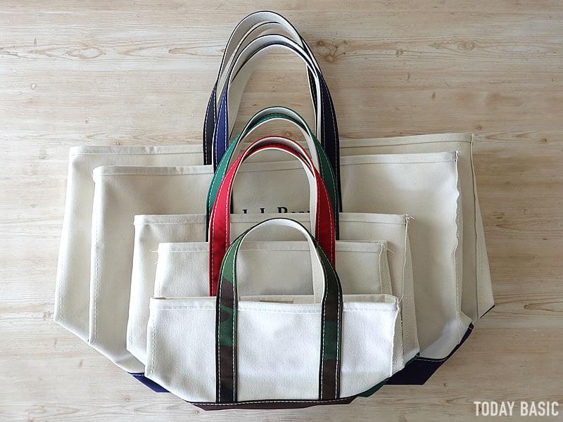 LLビーンのボートアンドトートバッグを全サイズの比較画像
