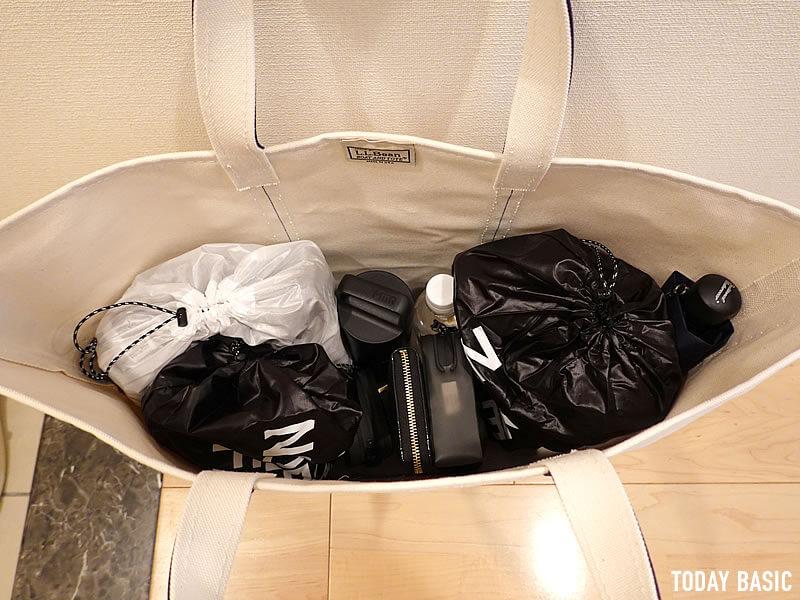 LLビーンのボートアンドトートバッグのラージを旅行・スポーツジムバッグとして使用
