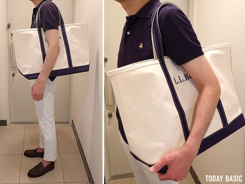 LLビーンのボートアンドトートバッグのラージサイズを肩掛けしている画像