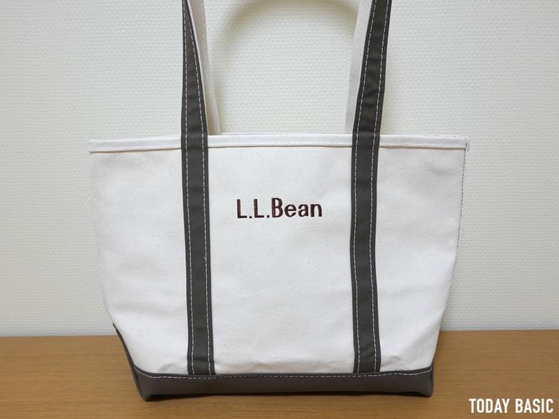 ブロック体で色糸ブラウンのモノグラムを入れたLLビーントートバッグ