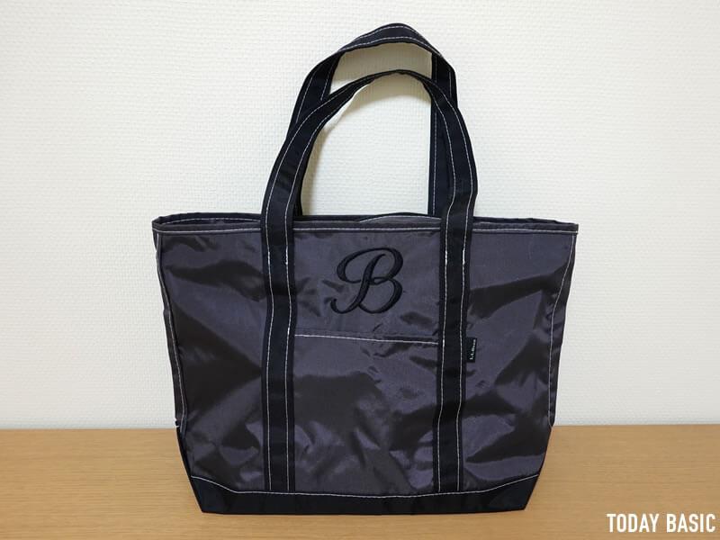 エアルーム体で色糸ブラックのモノグラムを入れたLLビーントートバッグ