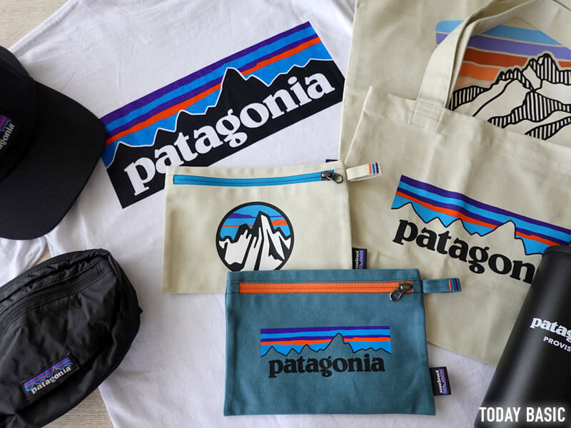 パタゴニアのジッパード・ポーチとロゴ小物を並べた画像